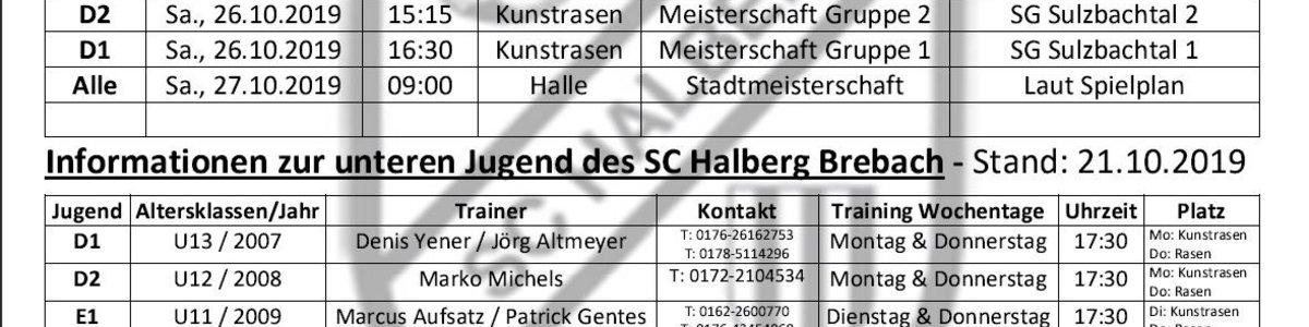 Spielplan KW 43 - Heimspiele der unteren Jugend des SC Halberg Brebach